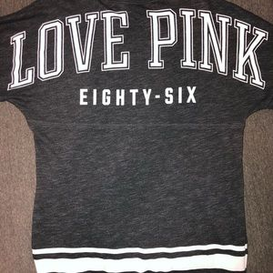 PINK Gray/Charcoal Crew Neck